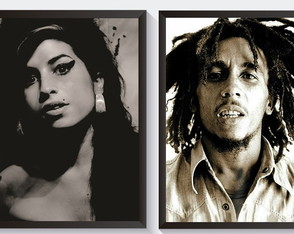 Quadros Amy Winehouse e Bob Marley