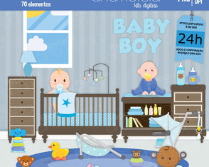 Kit Digital Baby Blue