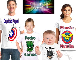Kit 4 Camisetas Heróis Marvel