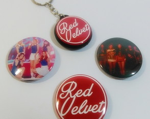 Kit Red Velvet - 3 Botons E Chaveiro Dupla Face K-pop