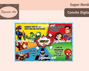 Arte digital convite Super Herois