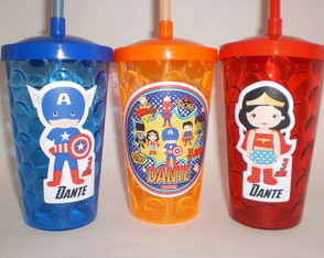 Copo Shake c/ Canudo de 500ml Super Heróis Kids/Cute