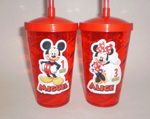 Copo Shake com Canudo de 500ml Mickey e Minnie