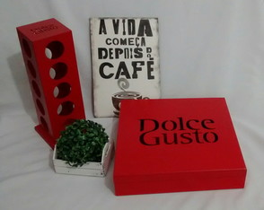 Conjunto Kit Cantinho do Café Organizador Decorativo