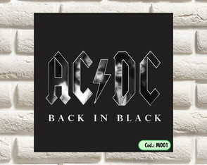 PLACA DECORATIVA - ACDC - BACK IN BLAK