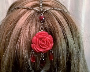 Headband Medieval Red Rose