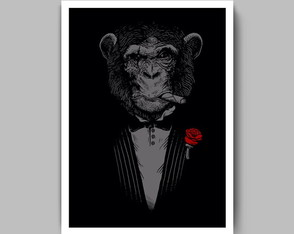Quadro The Godfather monkey com moldura