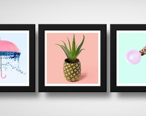 Kit 3 Quadros Abacaxi Vaso Girafa Chiclete Hipster Pop Art