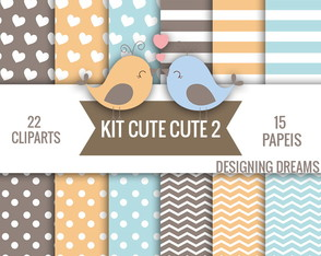 Kit Digital passarinho cute cute 2 PAPEIS + CLIPARTS