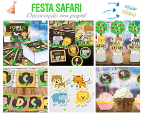 Kit Festa Safari 1 - Rótulos, Tags, Forminhas, Toppers