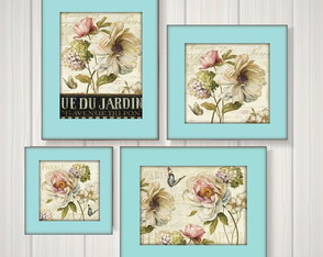 Kit 4 Quadros Decorativos Estampa Floral Moldura Tiffany