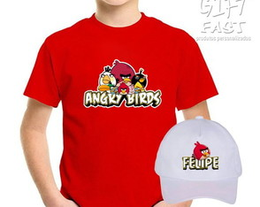 Kit Camiseta e boné Angry Birds