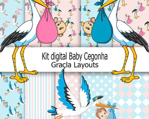 Kit Digital papel baby cegonha