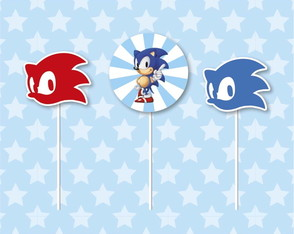 Toppers para Doces Festa Sonic