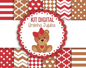 KIT DIGITAL URSINHA JUJUBA PAPEIS + CLIPARTS