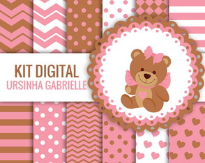 KIT DIGITAL URSINHA GABRIELLI PAPEIS + CLIPARTS