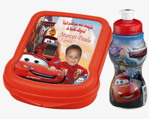 Kit Porta Lanches + Squeeze Carros