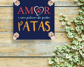Placa decorativa Amor de 4 patas