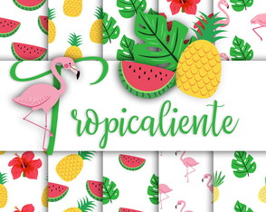 Kit digital Tropicaliente 23 papeis e 40 elementos