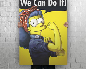 Quadro Poster Gigante em MDF, We Can Do It Marge Simpson