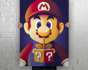 Quadro Poster MDF Gigante, 1,00 x 0,70, Super Mario World