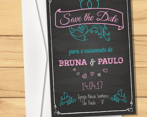 Convite + Envelope Save the Date Chalkboard