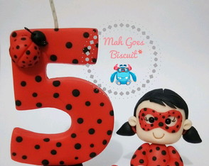 Vela tema Lady Bug + personagem