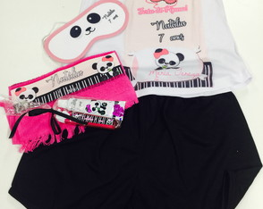 kit festa do pijama panda tapa olhos baby doll kit dental