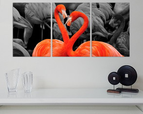 3 placas decoraivas - Flamingo - Tríptico - 38540177