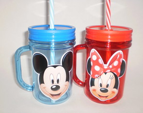 Caneca Acrílica Mason Jar de 400ml Mickey e Minnie