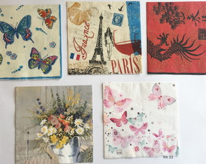 Kit com 5 guardanapos p/ decoupage - cód kit 22