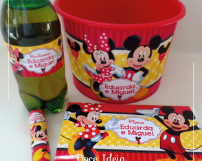 Kit Cinema - Minnie e Mickey (Balde + Rótulos) Vermelha