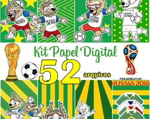 Kit Digital Papel Scrapbook Copa Do Mundo 2018 Zabivaca