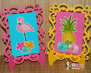Porta Retratos Flamingos Conjunto com 2