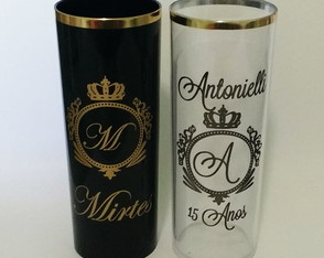 Copo Long Drink Personalizado Borda Dourada