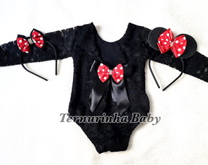 Collant Minnie Luxo Em Renda Manga comprida