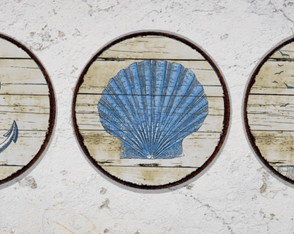 3 Placas Redondas Decorativas Praia