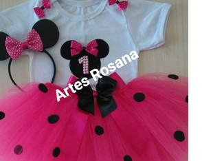 Fantasia tutu Minnie rosa smash