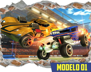 Adesivo Decorativo Parede Quebrada Hot Wheels Rocket League