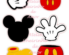 Aplique recorte scrap elementos Mickey