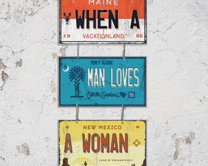 Conj. 3 Placas Decorativas When A Man Loves A Woman