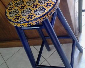 Banco Vintage Estampa Azulejos Azul
