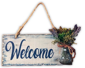 Placa Decorativa Rustica Welcome com Vasinho 13% OFF