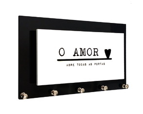 Porta Chaves e Cartas O Amor Abre as Portas Preto e Branco