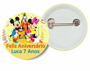 Botton 3,5 Disney World Mouse Birthday Aniversário Club