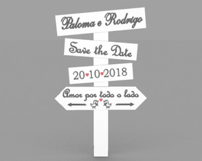Placa Casamento Branca Nome e Data ( Save The Date)