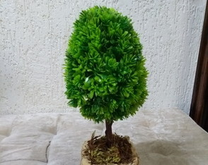 Bonsai Oval verde artificial.