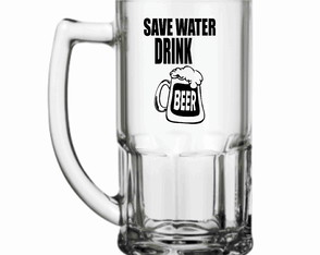 Caneca de chopp Vidro Save Water drink Beer