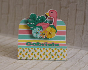 Flamingos porta chocolate duplo
