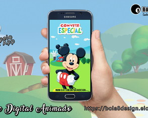 Convite Digital Animado -Personalizável - Mickey Mouse